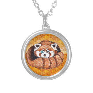 Red Panda Bear On Orange Cubism Silver Plated Necklace
