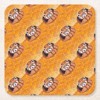 Red Panda Bear On Orange Cubism Square Paper Coaster