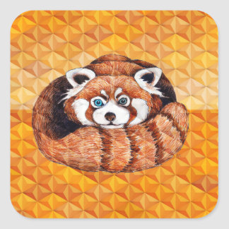 Red Panda Bear On Orange Cubism Square Sticker