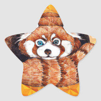 Red Panda Bear On Orange Cubism Star Sticker