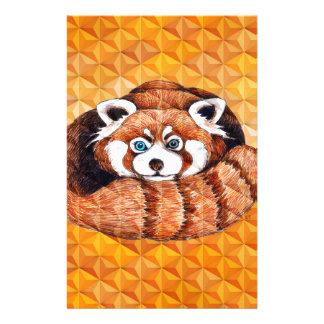 Red Panda Bear On Orange Cubism Stationery
