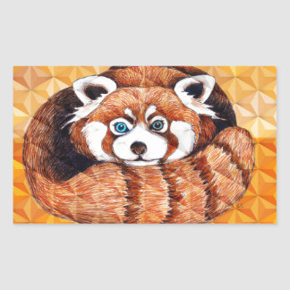Red Panda Bear On Orange Cubism Sticker
