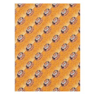 Red Panda Bear On Orange Cubism Tablecloth