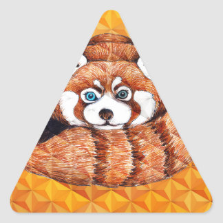 Red Panda Bear On Orange Cubism Triangle Sticker