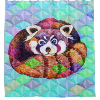 Red Panda bear on turquoise cubism