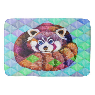 Red Panda bear on turquoise cubism Bath Mat