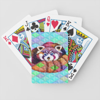 Red Panda bear on turquoise cubism Bicycle Playing Cards