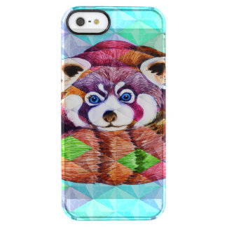 Red Panda bear on turquoise cubism Clear iPhone SE/5/5s Case