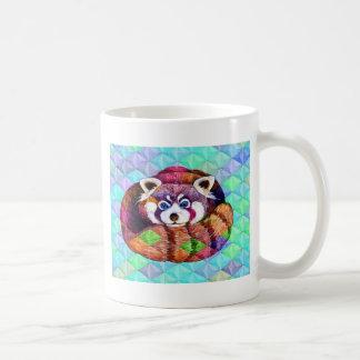 Red Panda bear on turquoise cubism Coffee Mug