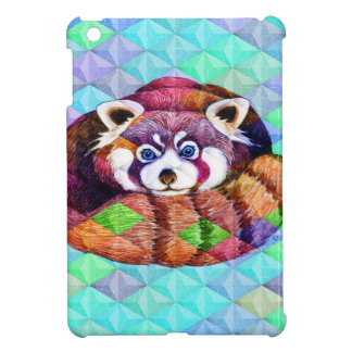 Red Panda bear on turquoise cubism Cover For The iPad Mini