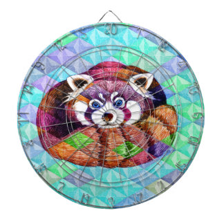 Red Panda bear on turquoise cubism Dartboard