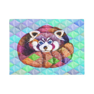 Red Panda bear on turquoise cubism Doormat