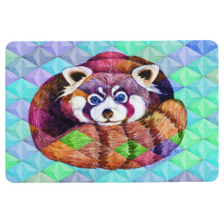 Red Panda bear on turquoise cubism Floor Mat