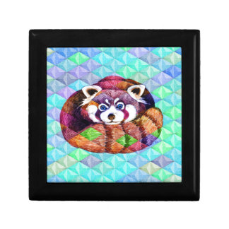 Red Panda bear on turquoise cubism Gift Box