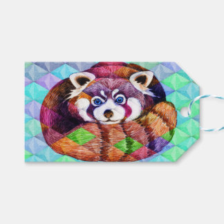 Red Panda bear on turquoise cubism Gift Tags