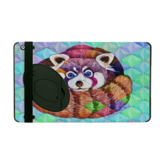 Red Panda bear on turquoise cubism iPad Folio Case