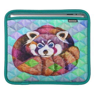 Red Panda bear on turquoise cubism iPad Sleeve