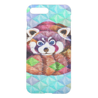 Red Panda bear on turquoise cubism iPhone 8 Plus/7 Plus Case