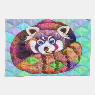Red Panda bear on turquoise cubism Kitchen Towel