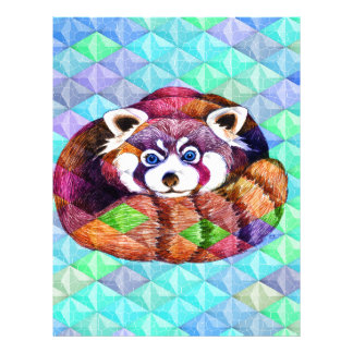 Red Panda bear on turquoise cubism Letterhead