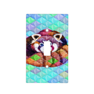 Red Panda bear on turquoise cubism Light Switch Cover