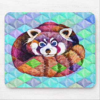 Red Panda bear on turquoise cubism Mouse Pad