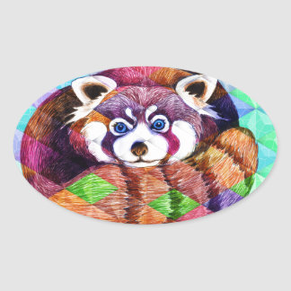 Red Panda bear on turquoise cubism Oval Sticker