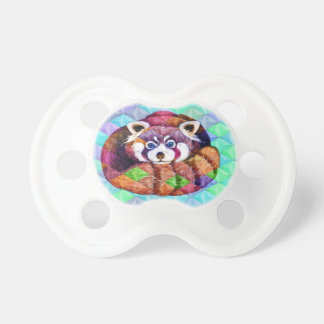 Red Panda bear on turquoise cubism Pacifier