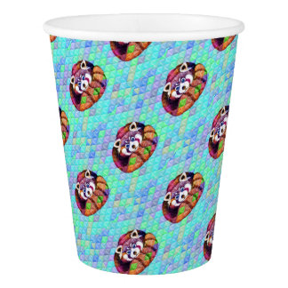 Red Panda bear on turquoise cubism Paper Cup