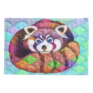 Red Panda bear on turquoise cubism Pillowcase