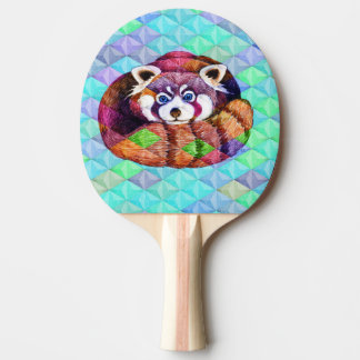 Red Panda bear on turquoise cubism Ping Pong Paddle