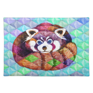Red Panda bear on turquoise cubism Placemat