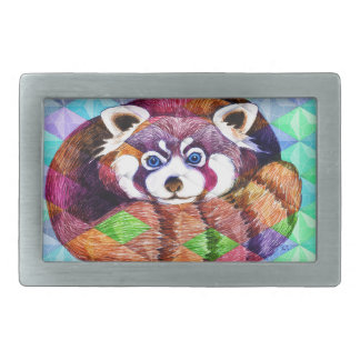 Red Panda bear on turquoise cubism Rectangular Belt Buckle