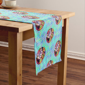 Red Panda bear on turquoise cubism Short Table Runner