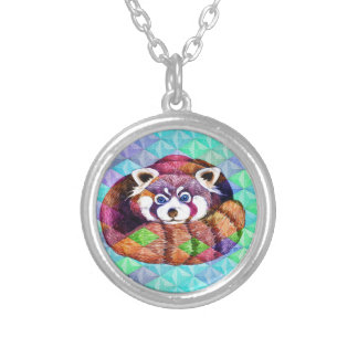 Red Panda bear on turquoise cubism Silver Plated Necklace