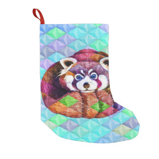 Red Panda bear on turquoise cubism Small Christmas Stocking
