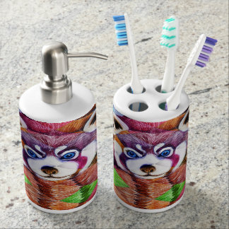 Red Panda bear on turquoise cubism Soap Dispenser And Toothbrush Holder