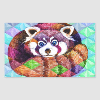 Red Panda bear on turquoise cubism Sticker