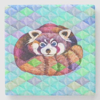 Red Panda bear on turquoise cubism Stone Coaster