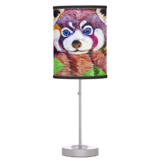 Red Panda bear on turquoise cubism Table Lamp
