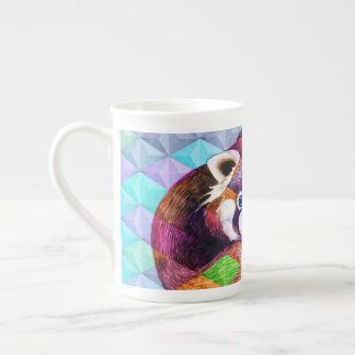 Red Panda bear on turquoise cubism Tea Cup