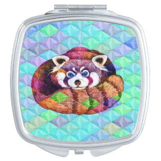 Red Panda bear on turquoise cubism Vanity Mirror