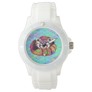 Red Panda bear on turquoise cubism Watch