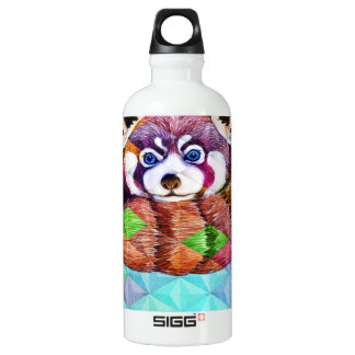 Red Panda bear on turquoise cubism Water Bottle
