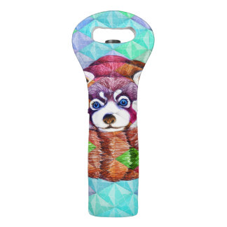 Red Panda bear on turquoise cubism Wine Bag
