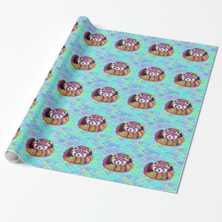 Red Panda bear on turquoise cubism Wrapping Paper