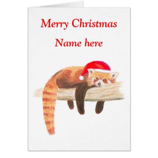 Red Panda Christmas card, customisable Card