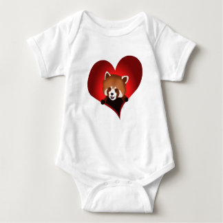 Red panda heart for babies baby bodysuit