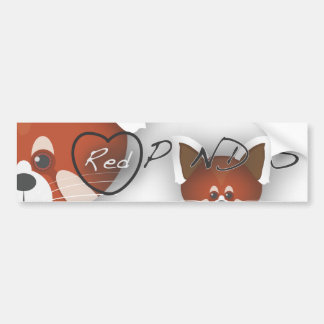Red Panda Love Bumper Sticker
