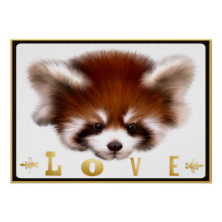 Red Panda Love Poster Art